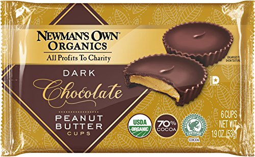 Newman's Own Organics Organic Super Dark Chocolate Cups, Peanut Butter, 1.9 Ounce (Pack of 16)