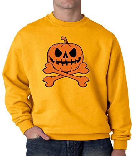 [Lifestyle39 Halloween Pumpkin Skeleton Sweatshirt, Crossbones Scary Sweatshirt, Halloween Costume Gold XX-Large] (80's Couples Halloween Costume Ideas)