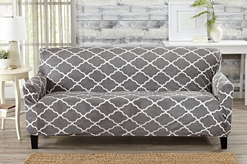 Great Bay Home Modern Velvet Plush Strapless Slipcover. Form Fit Stretch, Stylish Furniture Shield/Protector. Magnolia Collection Strapless Slipcover Brand. (Sofa, Grey) (Suede Slip Covers Grey)