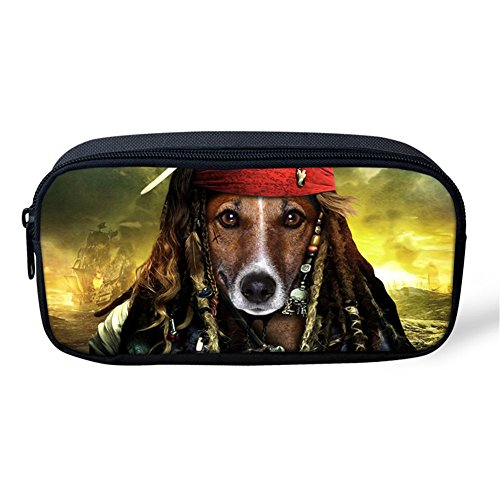 Creative Pen Pouch Pirates Of The Caribbean Dog Students Boys Girls Simple Pencil Case Makeup Brushes Bags ()