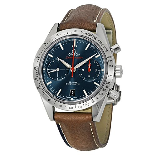 Omega Speedmaster Automatic Blue Dial Brown Leather Mens Watch 33112425103001