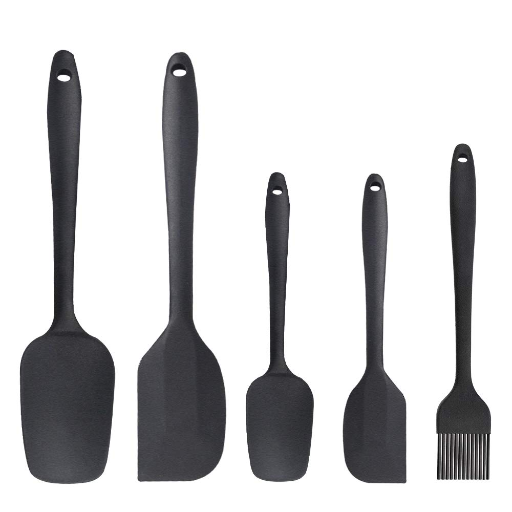 Silicone Spatula Set Silicone Kitchen Utensils Set Silicone Brush Heat Resistant Food Grade Non-Stick, for Cooking Baking Cake Decorating (Set of 3, Black) Benss