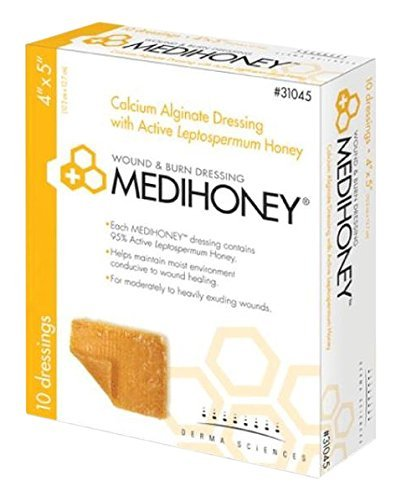 Derma Sciences 31045 Medihoney Calcium Alginate Dressing, 4