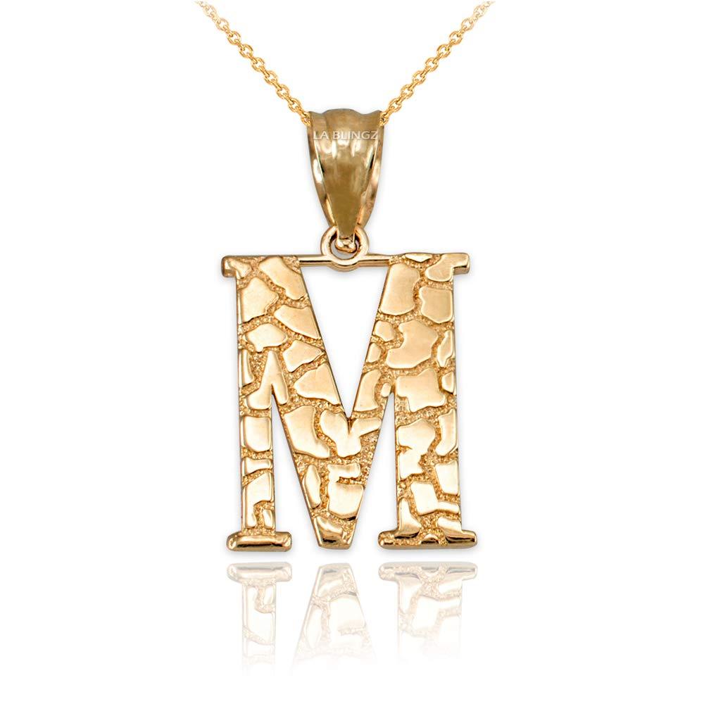 LA BLINGZ 10K Yellow Gold Pineapple Filigree DC Charm Necklace