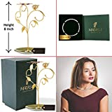 24k Gold Plated Jewelry Stand, Elegant Floral & Butterfly Design & 16'' Rhodium Plated Necklace by Matashi