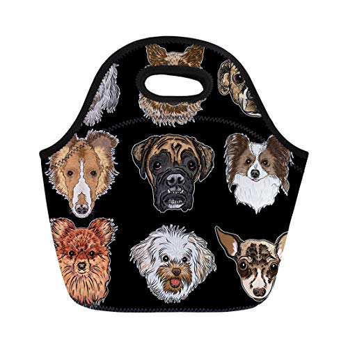 Tinmun Lunch Tote Bag Different Dogs Breeds Black Labradoodle German Shepherd Beagle Reusable Neoprene Bags Insulated Thermal Picnic Handbag for Women Men