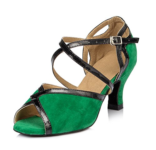 URVIP Women's Flannelette Heels Ballroom Pumps Modern Latin Tango Shoes Cross Ankle Strap Buckle Dance Shoes LD007 Green 8 B(M) US
