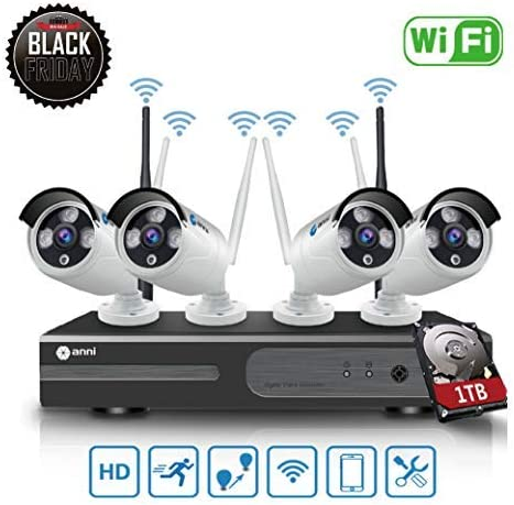 SmartSF 8CH 1080P HD CCTV Wireless Security System with 1TB Hard Drive, WiFi NVR Kit and 4 2.0MP Megapixel Wireless Indoor Outdoor Bullet IP Cameras, P2P, 65ft Night Vision