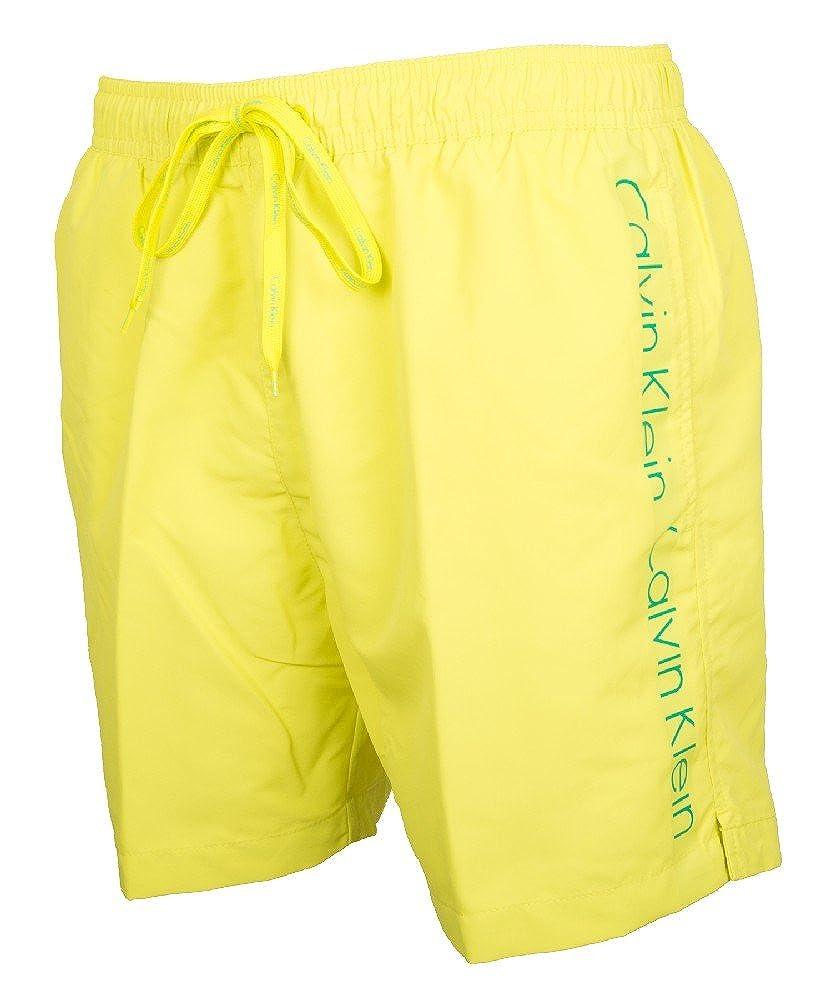 TALLA S. Calvin Klein Hombre Shorts de baño a rayas laterales, Azul