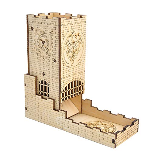 (Castle Dice Tower with Tray Wood Laser Cut Dragon Carving Easy Roller Perfect for Board Game, D&D and RPG)