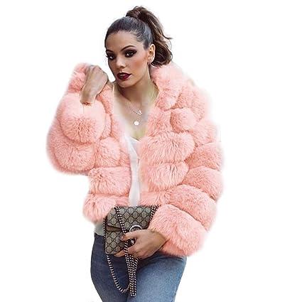 AIHOME Abrigo de Piel Mujer Elegante Largo cálido Abrigo Winter Fur Coat Abrigo Chaqueta Piel sintética
