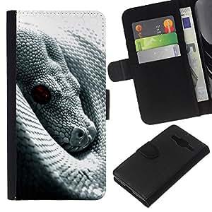 KLONGSHOP // Tirón de la caja Cartera de cuero con ranuras para tarjetas - Serpiente con ojos rojos - Samsung Galaxy Core Prime //
