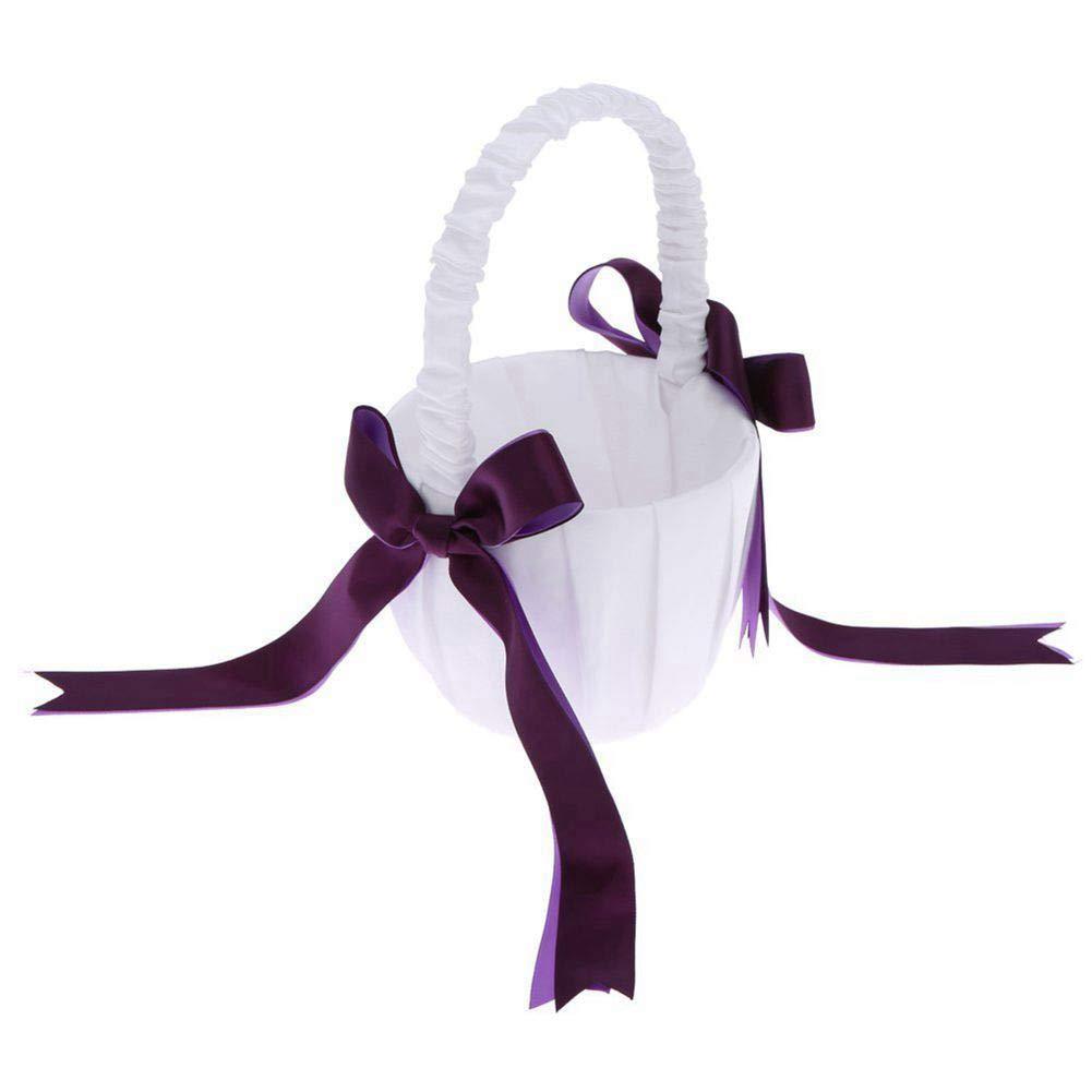 BERTERI Romantic Satin Wedding Flower Basket with Purple Bowknots Cute Small Flower Girl Basket for Wedding Ceremony