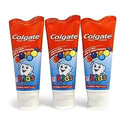 Colgate KIDS 3.5 oz 3-PACK Mild Bubble Fruit Flavor Toothpaste Fluoride Cavity & Enamel Protection