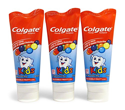 (Colgate KIDS 3.5 oz 3-PACK Mild Bubble Fruit Flavor Toothpaste Fluoride Cavity & Enamel Protection)