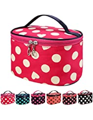 DZT1968 Handle Round Dot Large Cosmetic Bag Travel Makeup Organizer Case Holder With Mirror