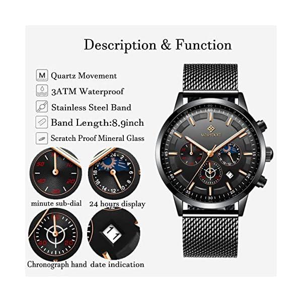 Men's Watches Fashion Analog Quartz Watch Date Business Chronograph Dress Luxury Brand Black Leather Wristwatch Gents Sport Waterproof Wristwatch 19