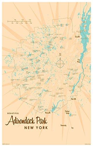 Adirondacks Vintage-Style Map Art Print Poster by Lakebound (12