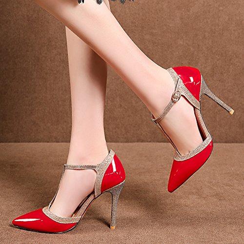 YE Damen T Strap Spitze Pumps Stiletto Lack High Heels mit Riemchen Glitzer Elegant Schuhe Rot