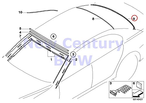 (Genuine BMW 7 Series E65 E66 E67 Rear Window Lower Moulding Trim OEM 51717033257)