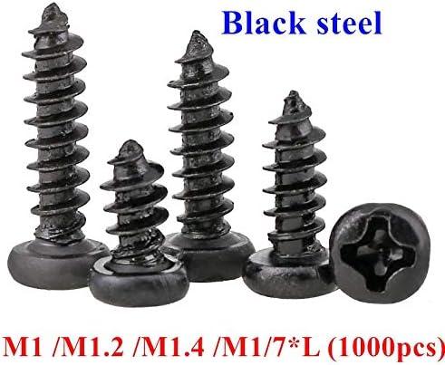 Length : 3mm, Size : M1.4 YTXR 1000pcs M1 M1.2 M1.4 M1.7 PA Phillips Pan Head Self Tapping Screws Laptop wood tapping screw