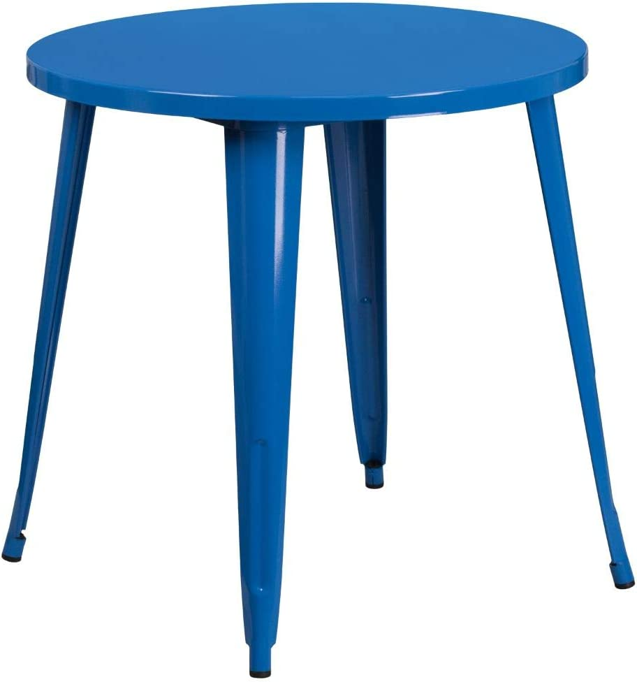 """Flash Furniture Commercial Grade 30"""" Round Blue Metal Indoor-Outdoor Table"""