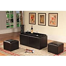 Roundhill Espresso Bonded Leather Storage Coffee Table with 2 Ottomans