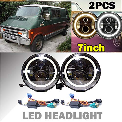 2 x H6024 7 Inch Round LED Projector Headlights with White Halo Angel Eye Ring DRL & Amber Turn Signal Lights High Beam & Low Beam for Dodge B100 B150 B200 B250, B100 Van B200 Van