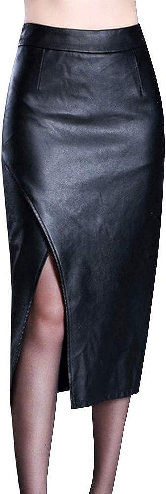 LPATTERN Falda de Cuero PU Lápiz por la Rodilla para Mujeres Oficina Falda de Cuero con Aberturas Cintura Alta