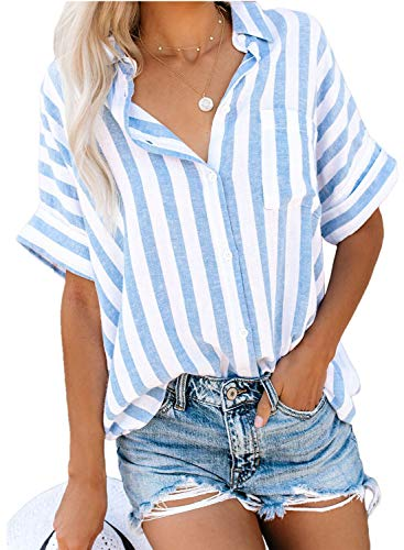 Biucly Women's Casual Stylish Striped V Neck Button Down Cuffed Sleeve Blouses Shirts Tops Pullover - Sleeve Top V-neck Striped