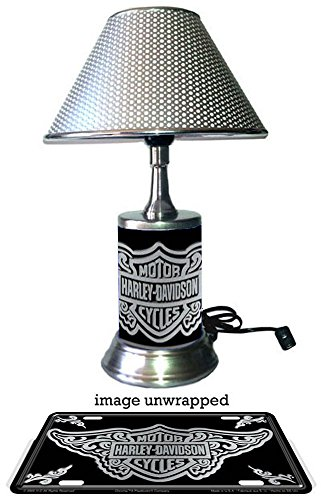 Harley-Davidson lamp with chrome shade, Filigree