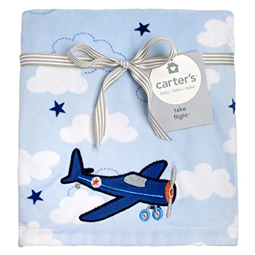 Carter's Take Flight Airplane/Cloud Super Soft Appliqued Baby Blanket, Blue, Navy - New Carters Baby Crib
