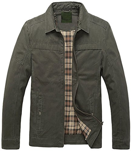 Chouyatou Men's Basic Spread Collar Full Zip Plaid Lined Lightweight Cotton Barn Jackets (Armygreen, Medium)