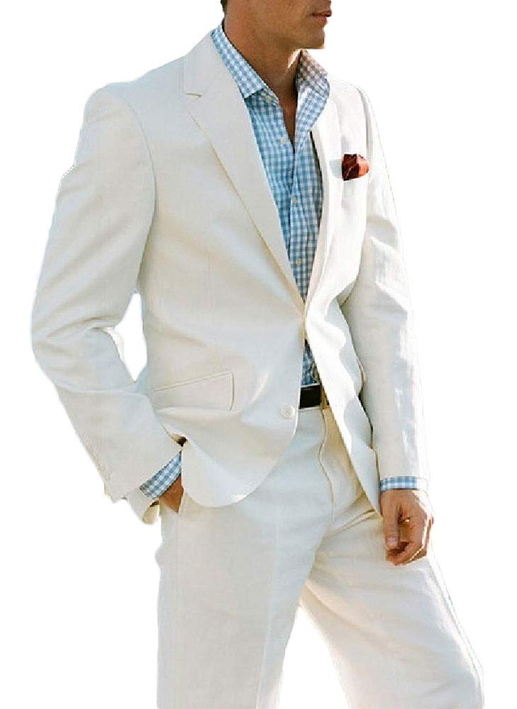 Ivory Summer Beach Wedding Suits 2 Pieces Men Suits Groom Tuxedos 2 Buttons Ivory Custom Size by Botong