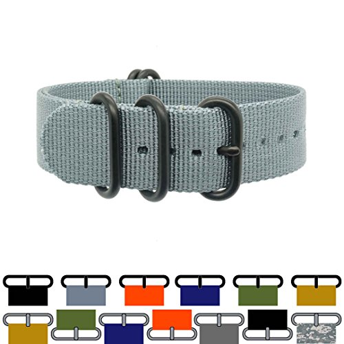 ZULU4­ Ballistic Nylon Watch Strap + Spring Bars, Field Ready/Fashion Forward, Black-Ops/Admiralty Grey, 20mm