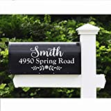 """WallzTalk Set of 2 Personalized Mailbox Decal Custom Address Sign Family Name Decal Vinyl Lettering Farmhouse Decor 6.5"""" h x 14"""" w"""