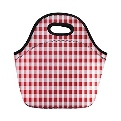 Semtomn Lunch Tote Bag Firebrick Gingham From Rhombus Squares for Plaid Tablecloths Dresses Reusable Neoprene Insulated Thermal Outdoor Picnic Lunchbox for Men Women
