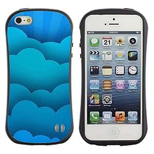 Paccase / Suave TPU GEL Caso Carcasa de Protección Funda para - Blue Clouds - Apple Iphone 5 / 5S