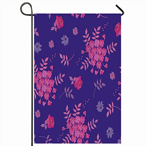 Ahawoso Garden Flag 12x18 Inches Summer Blue Bloom Natural Autumn Pattern Flowers Leaves Dress Nature Pink Blossom Botanical Botany Outdoor Decorative Seasonal Double Sided Home House Yard Sign