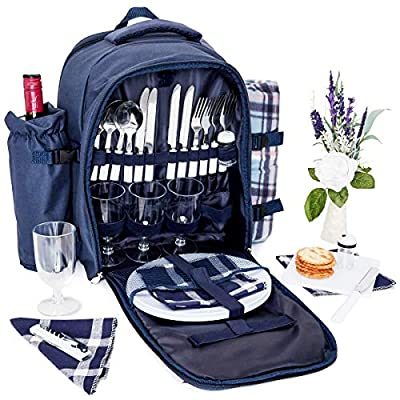 Picnic Backpack - Lunch Set for 4, with Insulated Cooler Compartment, Detachable Wine Bottle Holder, Flatware, Plates, Napkins, Salt & Pepper Shakers, Cutting Board, Bottle Opener and Wine Glasses