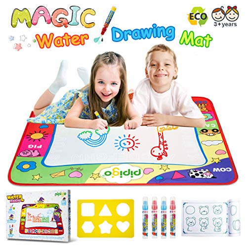 (Magic Water Doodle Mats Water Drawing Mat Large 32x24in Painting Pad with 4 Pens 6 Molds Learning Educational Toddler Toys Toddler Gifts for Girls Boys Age 2 3 4 5+)