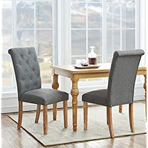 O&K FURNITURE Solid Wood Tufted Dining Chairs, Fabric Dining Room Chair Set with Arched Backrest Design, (Set of 2,Gray)