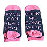SurBepo If You Can Read This Bring Me Some Wine Coffee Beer Gift Socks Funny Saying Knitting Word Combed Cotton Crew Socks for Men Women Pink Blue