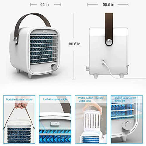 Air Conditioner Portable Cooling Fan Desk Fan, With Ice Tray Water Curtain LED Light Adjustable Speed Function,Cooling Fast Mobile Air Cooler for Home Office Bedroom Outdoor