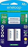 "Panasonic K-KJS2MCA2BA eneloop AA NEW 2100 Cycle, Ni-MH Pre-Charged Rechargeable Batteries, 2 Pack with 2 ""C"" Spacers"