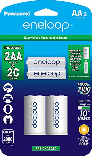 Panasonic K-KJS2MCA2BA eneloop C Size Battery Adapters with eneloop AA 2100 Cycle Ni-MH Pre-Charged Rechargeable Batteries, 2 Pack with 2