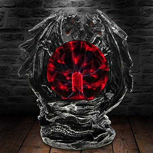 ABILY Table Lamp Gothic Dragon Plasma Ball Statue with Electric Glass Horror Lighting Home Desk Art Decor Figurine Novelty Mood Light Halloween -
