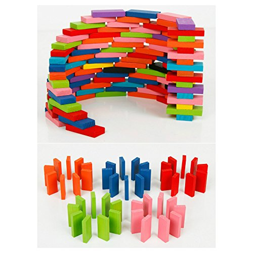 Amazon Lightning Deal 72% claimed: 100pcs Domino Wooden Kids Toys Dominoes Building Blocks Set Racing Game Play Set Educational Toy for Children 12 color