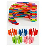 100pcs Domino Wooden Kids Toys Dominoes Building Blocks Set Racing Game Play Set Educational Toy for Children 12 color
