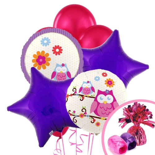 Owl Blossom Party Supplies - Balloon Bouquet (Owl Party Balloons)
